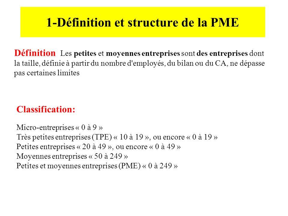 1-Définition et structure de la PME Définition Les petites et moyennes entreprises sont des entreprises dont la taille, définie à partir du nombre d'e