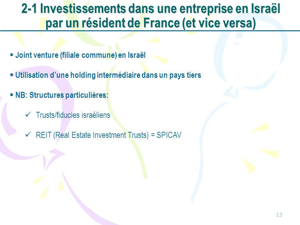 13 Joint venture (filiale commune) en Israël Utilisation dune holding intermédiaire dans un pays tiers NB: Structures particulières: Trusts/fiducies israéliens REIT (Real Estate Investment Trusts) = SPICAV 2-1 Investissements dans une entreprise en Israël par un résident de France (et vice versa)