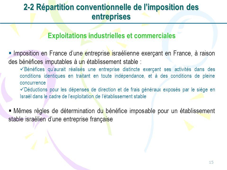 15 Exploitations industrielles et commerciales Imposition en France dune entreprise israélienne exerçant en France, à raison des bénéfices imputables