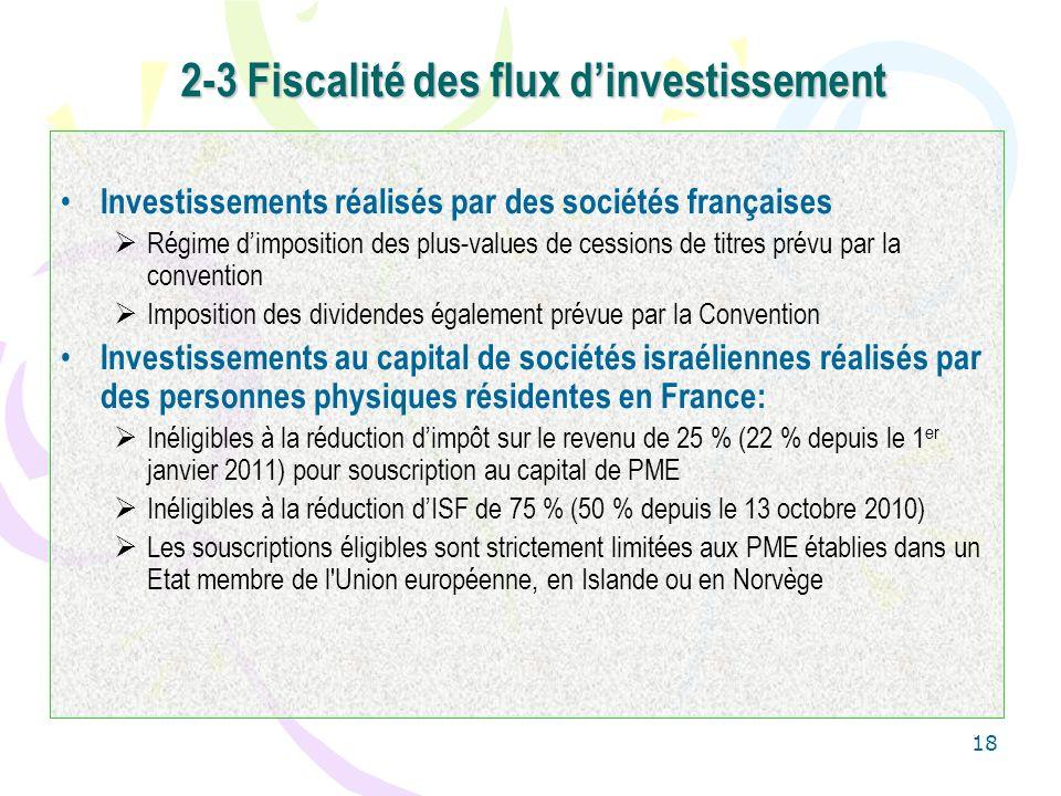 18 2-3 Fiscalité des flux dinvestissement Investissements réalisés par des sociétés françaises Régime dimposition des plus-values de cessions de titre