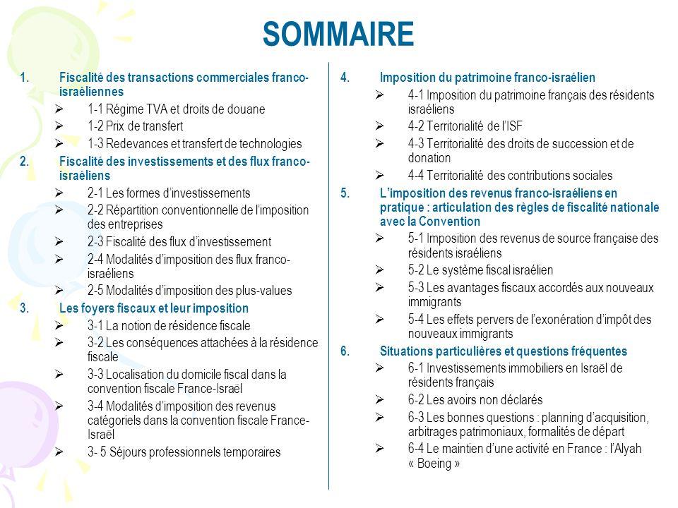 SOMMAIRE 1.Fiscalité des transactions commerciales franco- israéliennes 1-1 Régime TVA et droits de douane 1-2 Prix de transfert 1-3 Redevances et tra