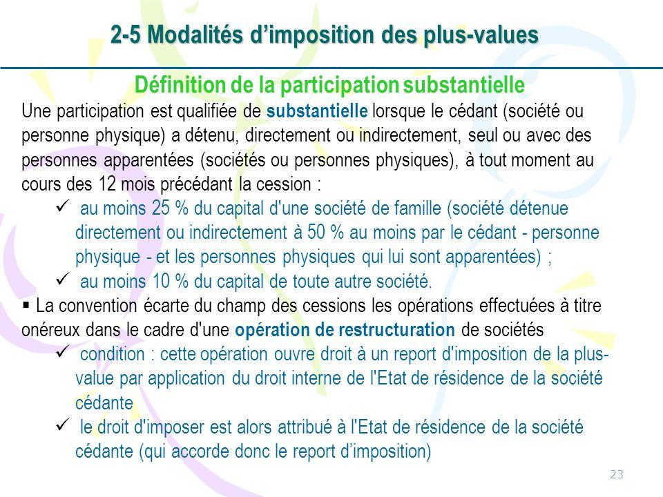 23 Définition de la participation substantielle Une participation est qualifiée de substantielle lorsque le cédant (société ou personne physique) a dé
