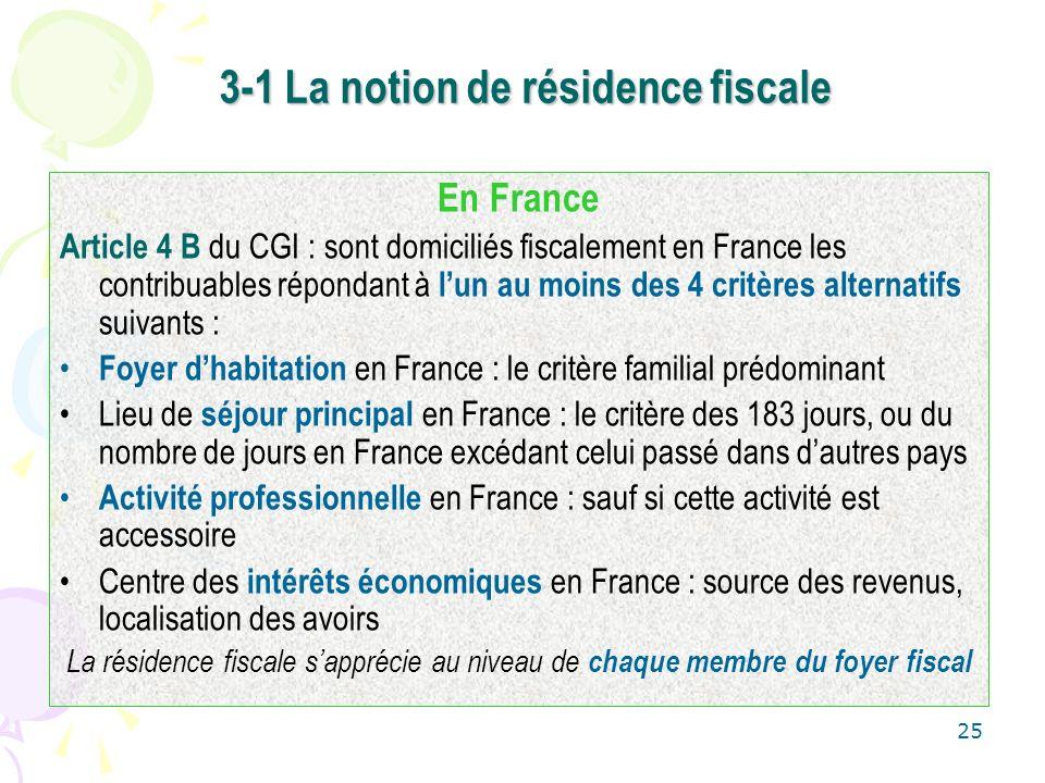 25 3-1 La notion de résidence fiscale En France Article 4 B du CGI : sont domiciliés fiscalement en France les contribuables répondant à lun au moins