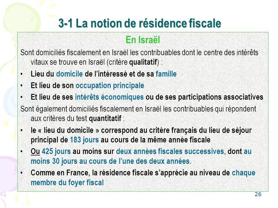 26 3-1 La notion de résidence fiscale En Israël Sont domiciliés fiscalement en Israël les contribuables dont le centre des intérêts vitaux se trouve e
