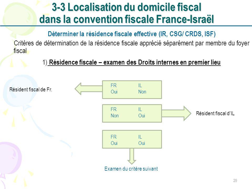 Déterminer la résidence fiscale effective (IR, CSG/ CRDS, ISF) Critères de détermination de la résidence fiscale apprécié séparément par membre du foy