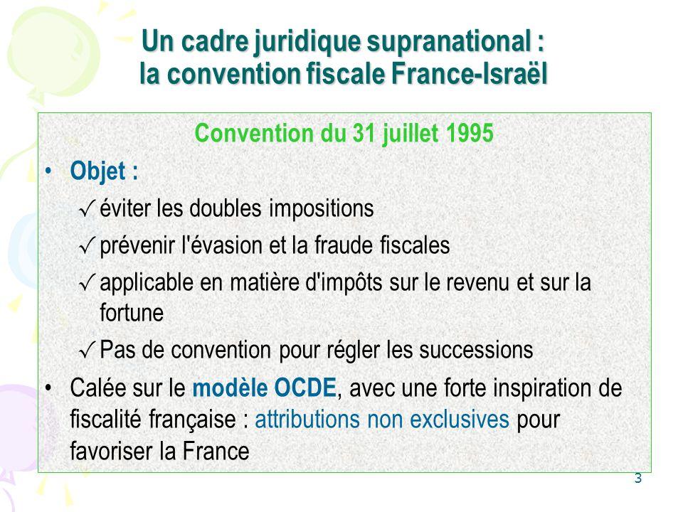3 Un cadre juridique supranational : la convention fiscale France-Israël Convention du 31 juillet 1995 Objet : éviter les doubles impositions prévenir