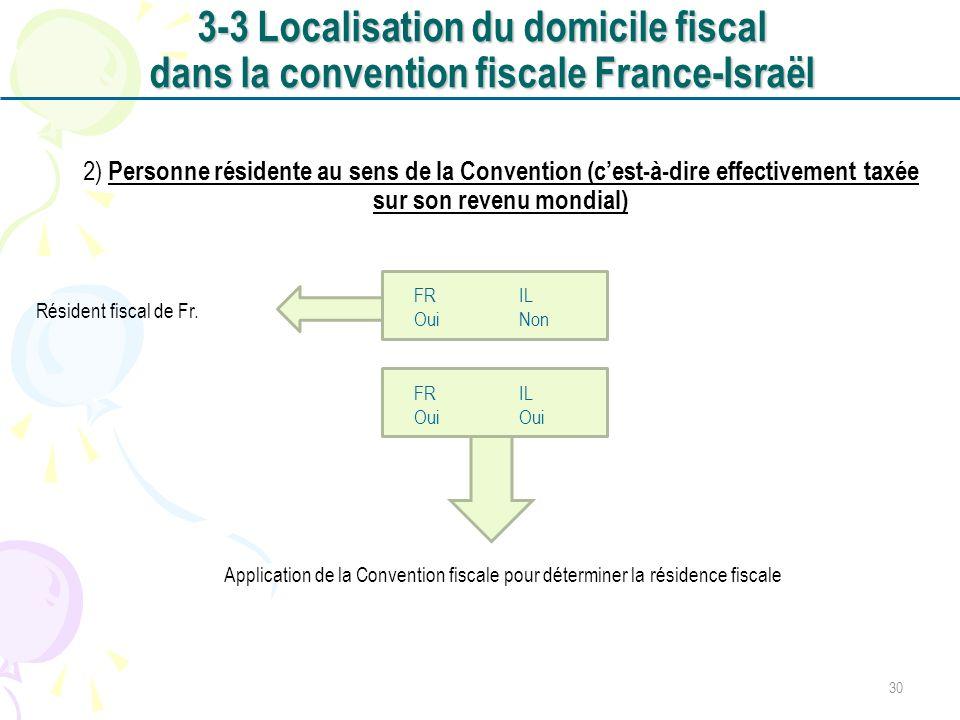 2) Personne résidente au sens de la Convention (cest-à-dire effectivement taxée sur son revenu mondial) FR IL Oui Non FR IL Oui Résident fiscal de Fr.