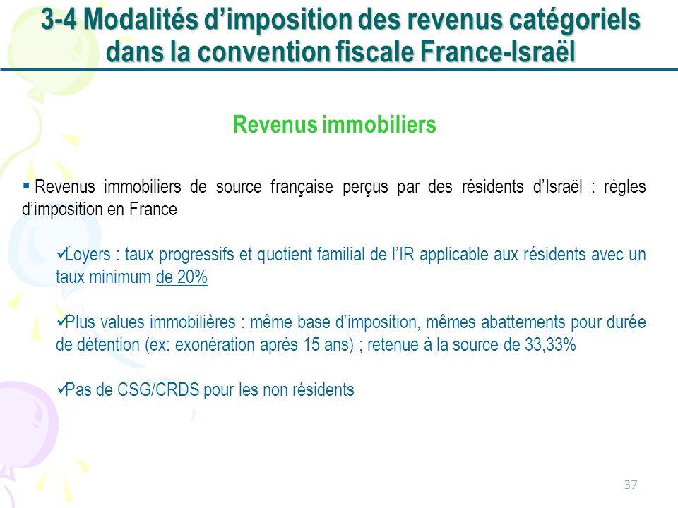 37 Revenus immobiliers Revenus immobiliers de source française perçus par des résidents dIsraël : règles dimposition en France Loyers : taux progressi