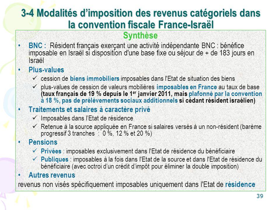 39 Synthèse BNC : Résident français exerçant une activité indépendante BNC : bénéfice imposable en Israël si disposition d'une base fixe ou séjour de