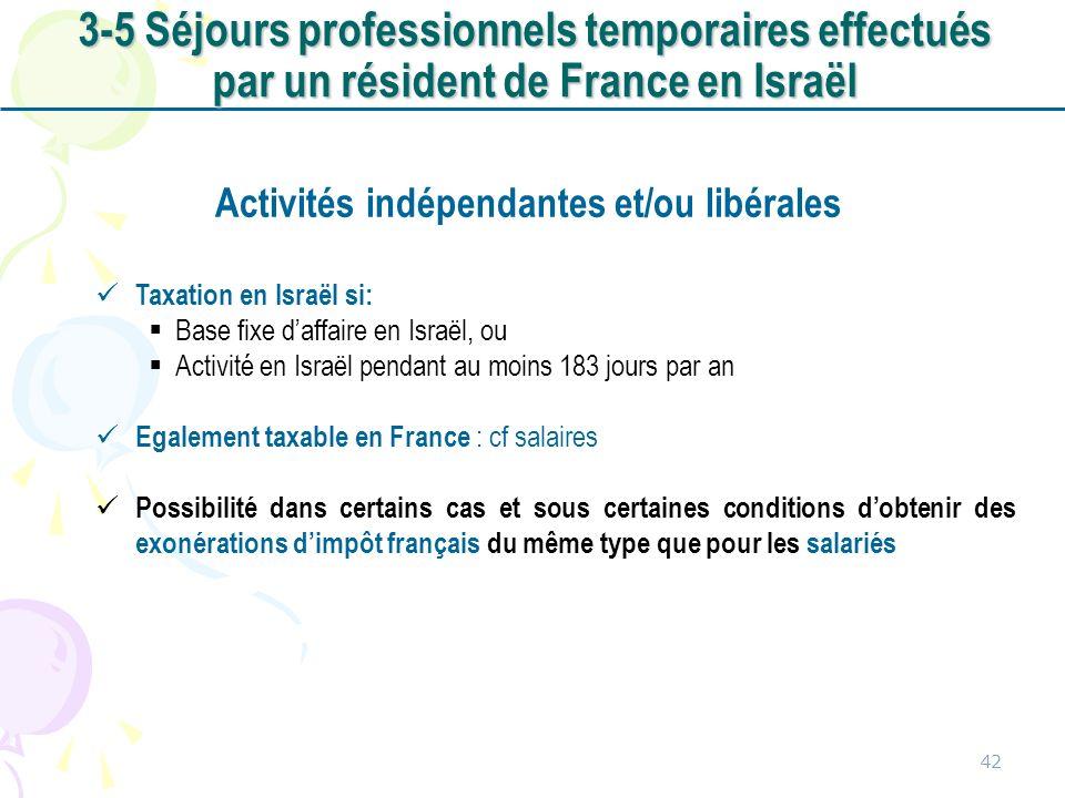42 Activités indépendantes et/ou libérales Taxation en Israël si: Base fixe daffaire en Israël, ou Activité en Israël pendant au moins 183 jours par a