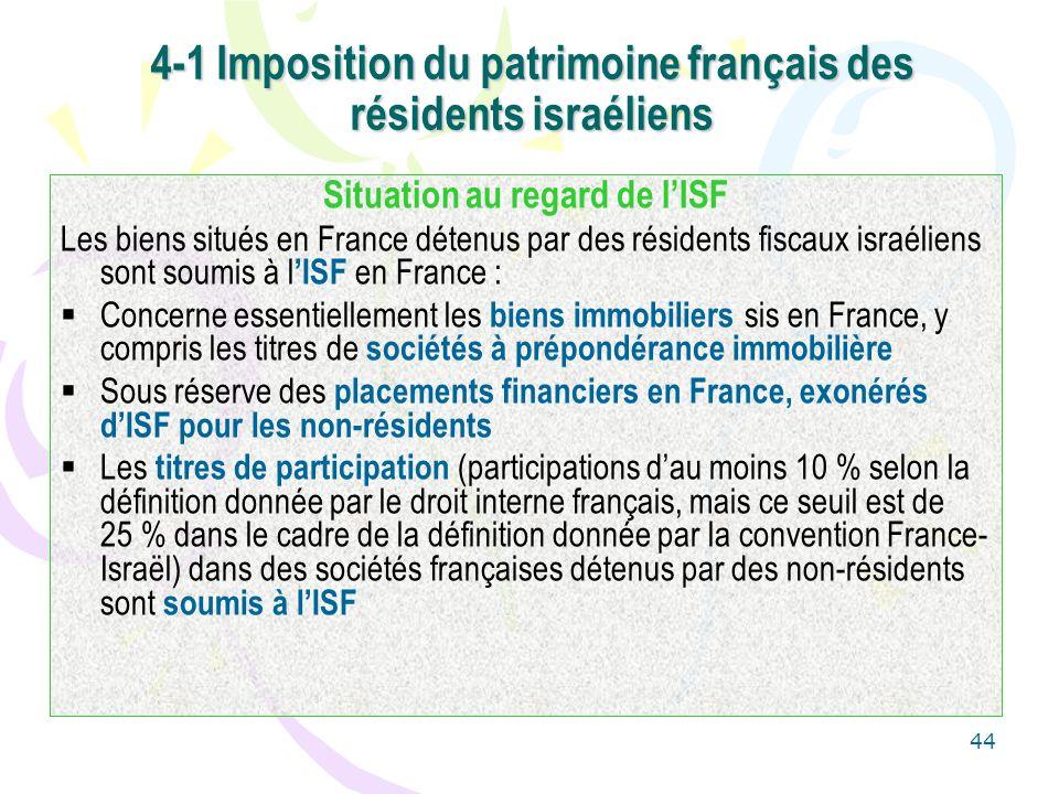 44 4-1 Imposition du patrimoine français des résidents israéliens Situation au regard de lISF Les biens situés en France détenus par des résidents fis