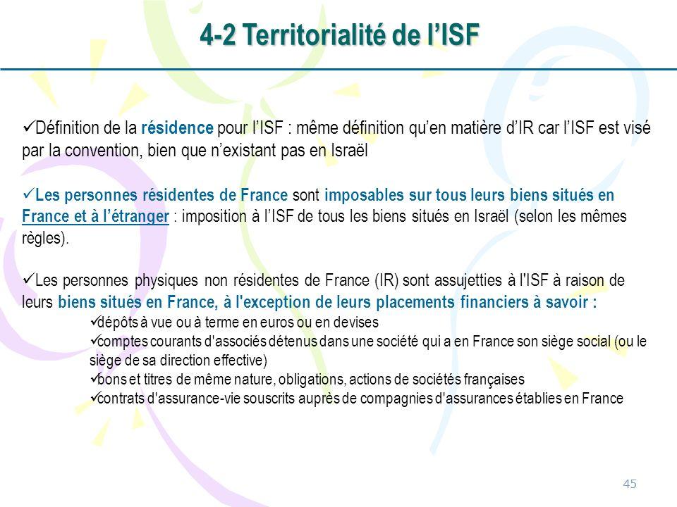 45 Définition de la résidence pour lISF : même définition quen matière dIR car lISF est visé par la convention, bien que nexistant pas en Israël Les p