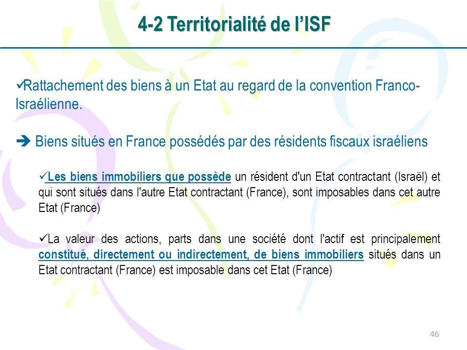46 Rattachement des biens à un Etat au regard de la convention Franco- Israélienne. Biens situés en France possédés par des résidents fiscaux israélie