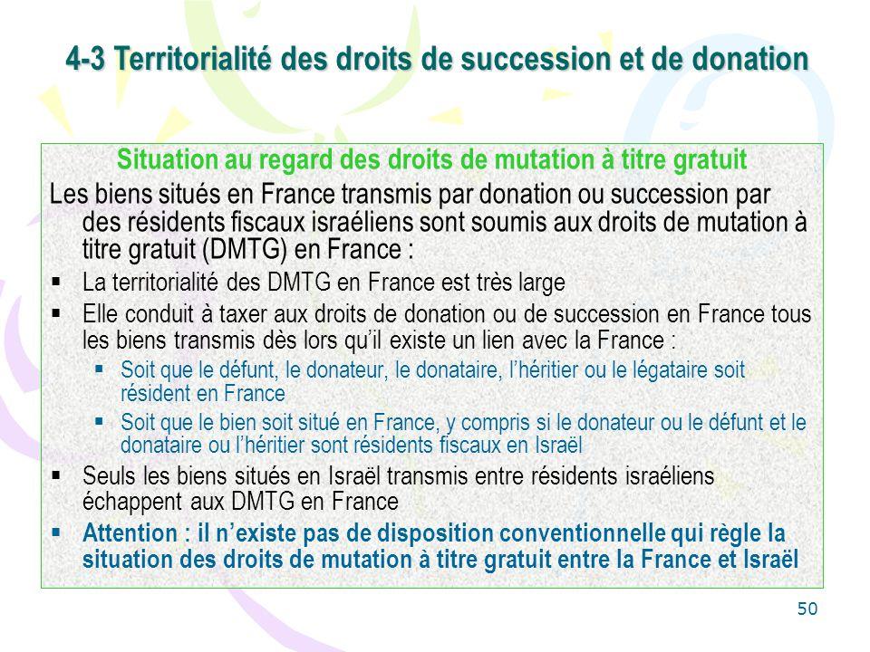 50 Situation au regard des droits de mutation à titre gratuit Les biens situés en France transmis par donation ou succession par des résidents fiscaux