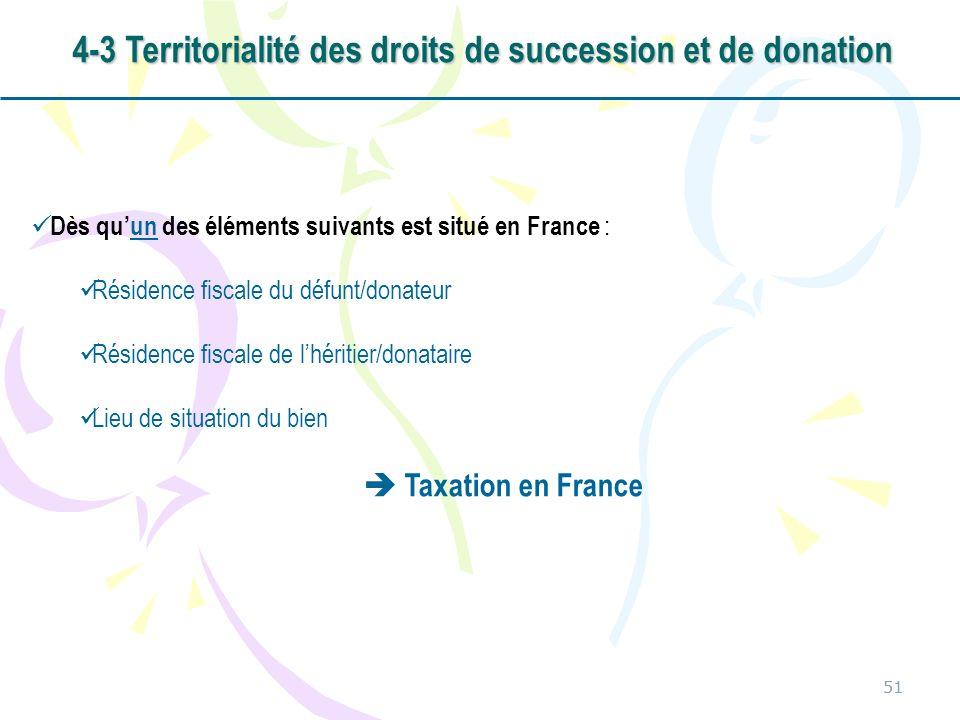 51 Dès quun des éléments suivants est situé en France : Résidence fiscale du défunt/donateur Résidence fiscale de lhéritier/donataire Lieu de situatio