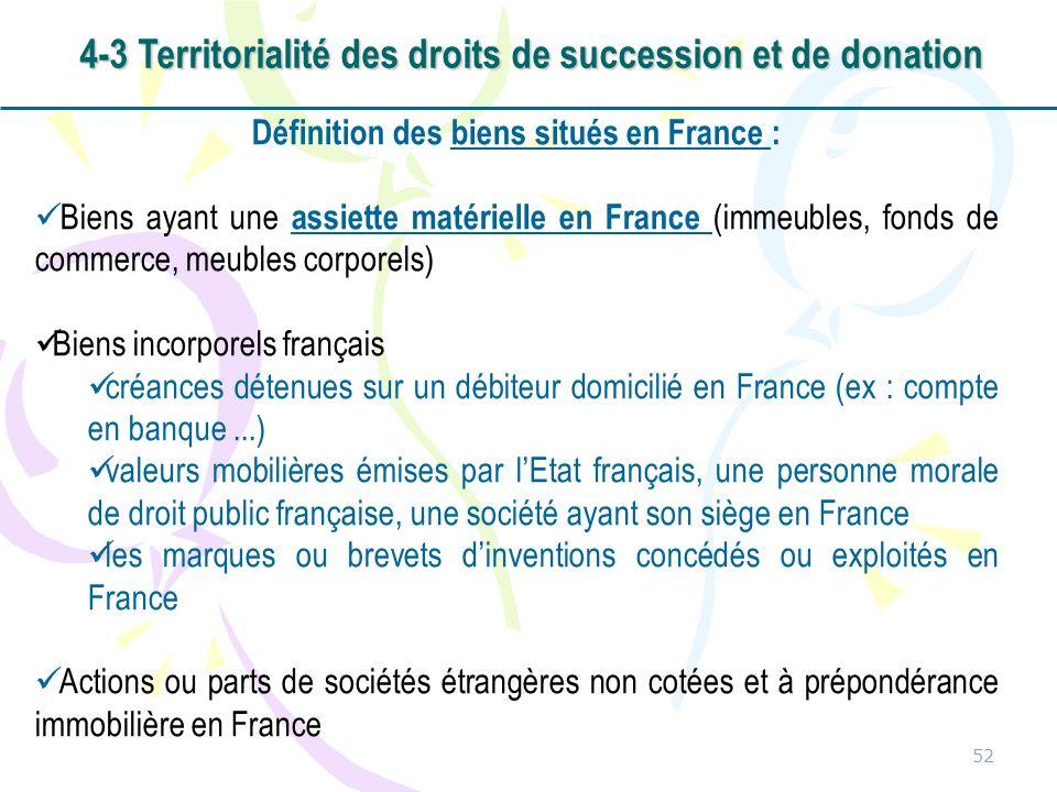 52 Définition des biens situés en France : Biens ayant une assiette matérielle en France (immeubles, fonds de commerce, meubles corporels) Biens incor