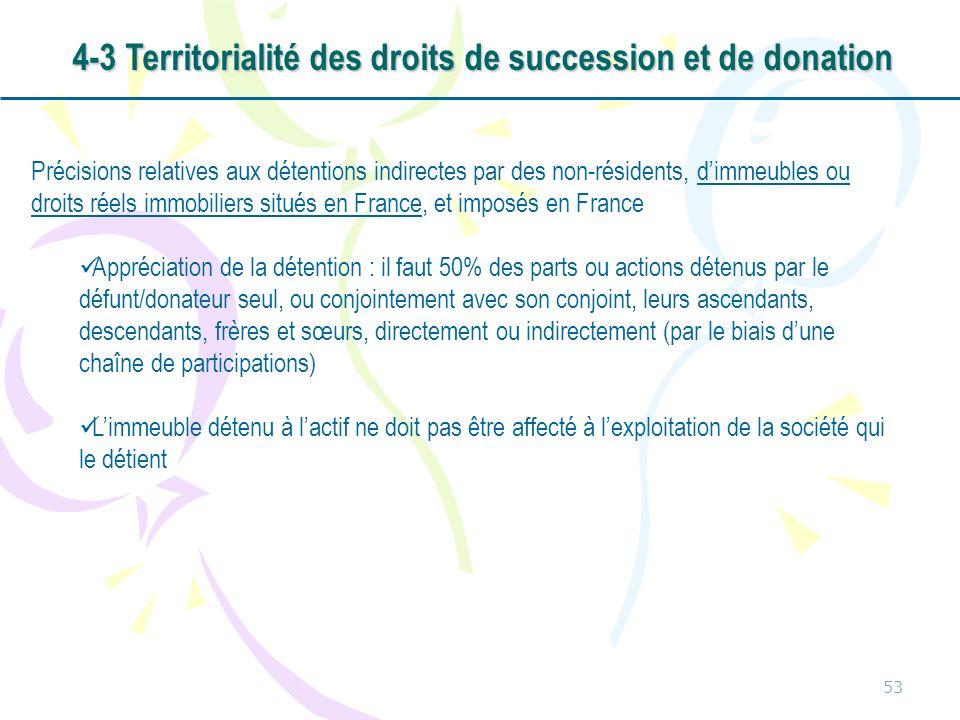 53 Précisions relatives aux détentions indirectes par des non-résidents, dimmeubles ou droits réels immobiliers situés en France, et imposés en France