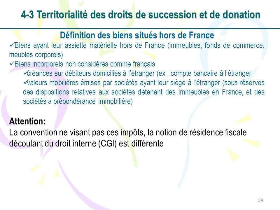 54 Définition des biens situés hors de France Biens ayant leur assiette matérielle hors de France (immeubles, fonds de commerce, meubles corporels) Bi