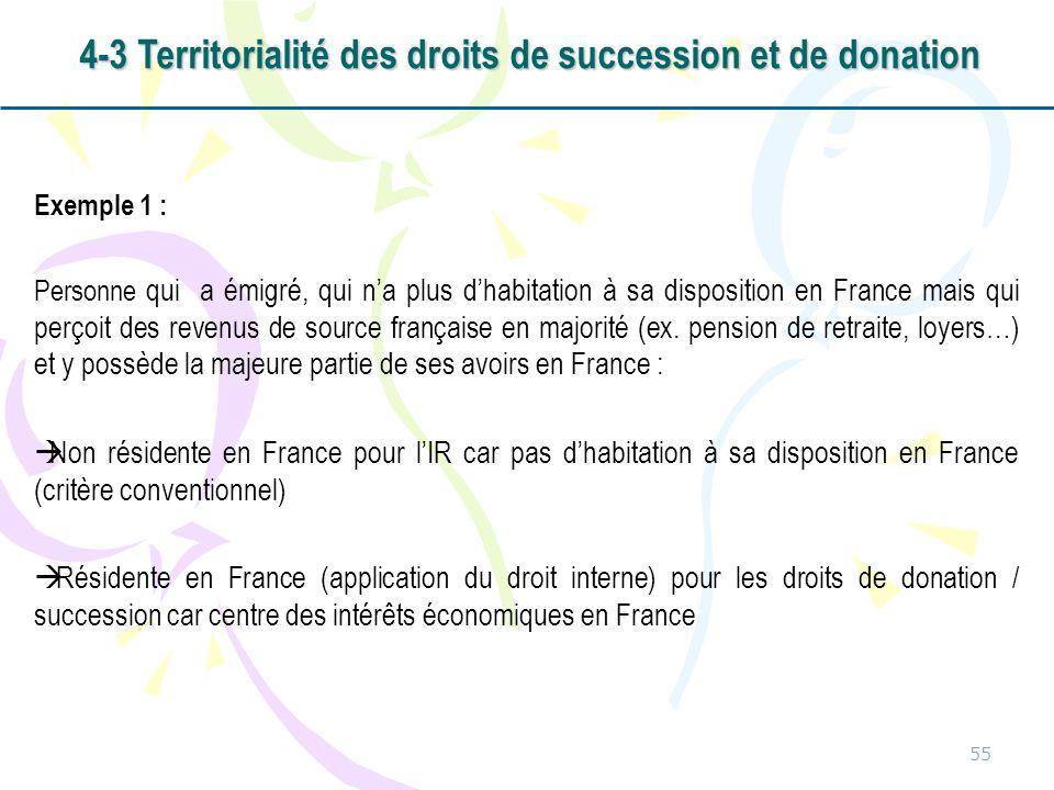 Exemple 1 : Personne qui a émigré, qui na plus dhabitation à sa disposition en France mais qui perçoit des revenus de source française en majorité (ex
