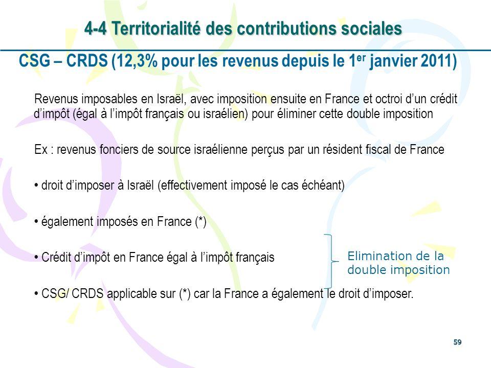 59 CSG – CRDS (12,3% pour les revenus depuis le 1 er janvier 2011) Revenus imposables en Israël, avec imposition ensuite en France et octroi dun crédi
