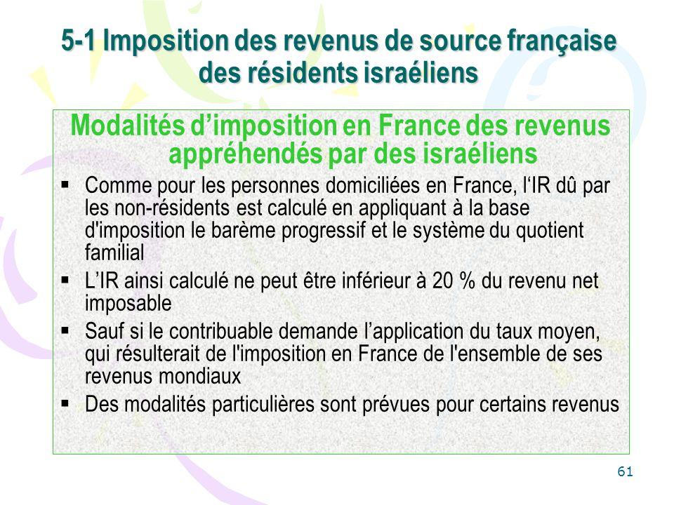 61 5-1 Imposition des revenus de source française des résidents israéliens Modalités dimposition en France des revenus appréhendés par des israéliens