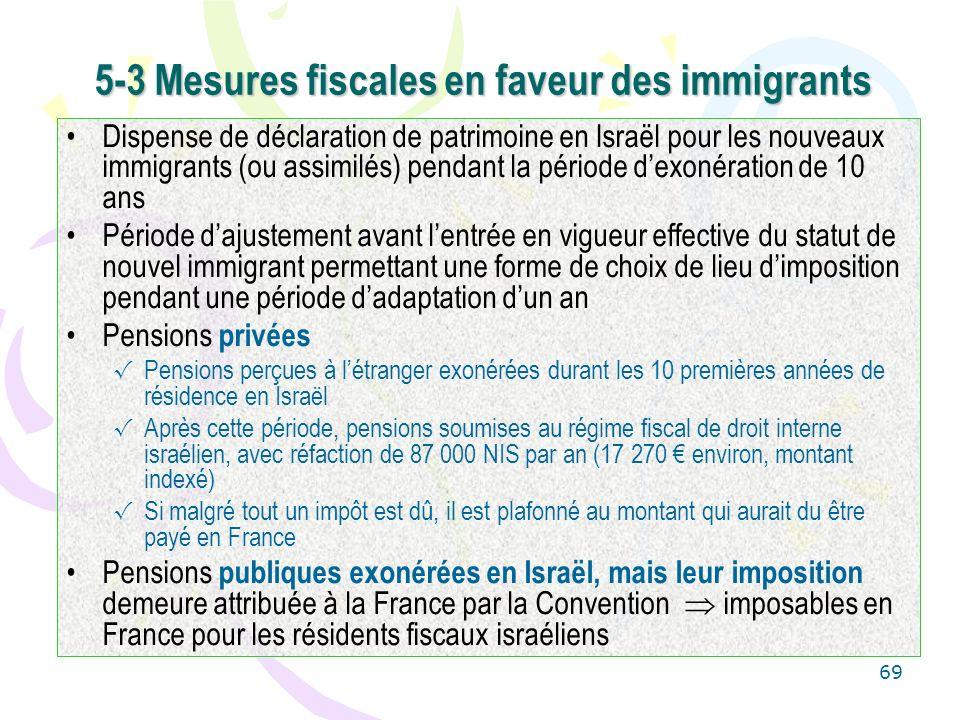 69 5-3 Mesures fiscales en faveur des immigrants Dispense de déclaration de patrimoine en Israël pour les nouveaux immigrants (ou assimilés) pendant l