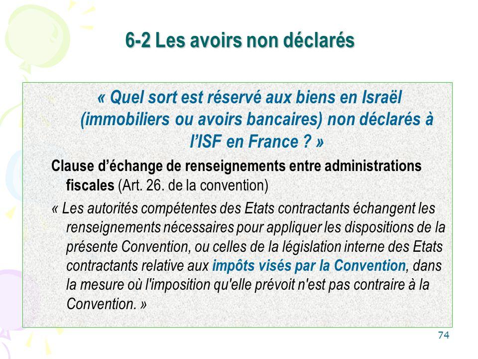 74 6-2 Les avoirs non déclarés « Quel sort est réservé aux biens en Israël (immobiliers ou avoirs bancaires) non déclarés à lISF en France ? » Clause