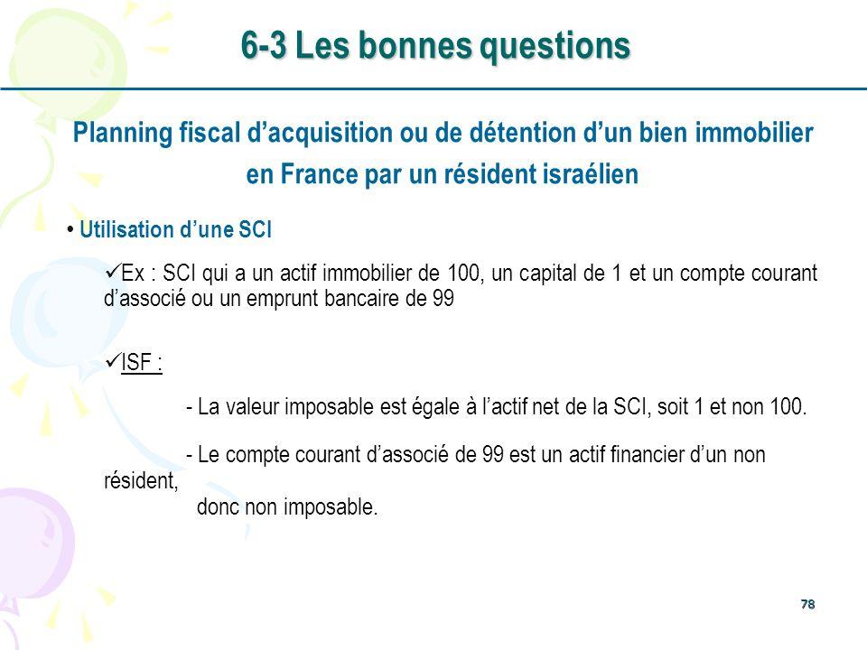 78 Planning fiscal dacquisition ou de détention dun bien immobilier en France par un résident israélien Utilisation dune SCI Ex : SCI qui a un actif i