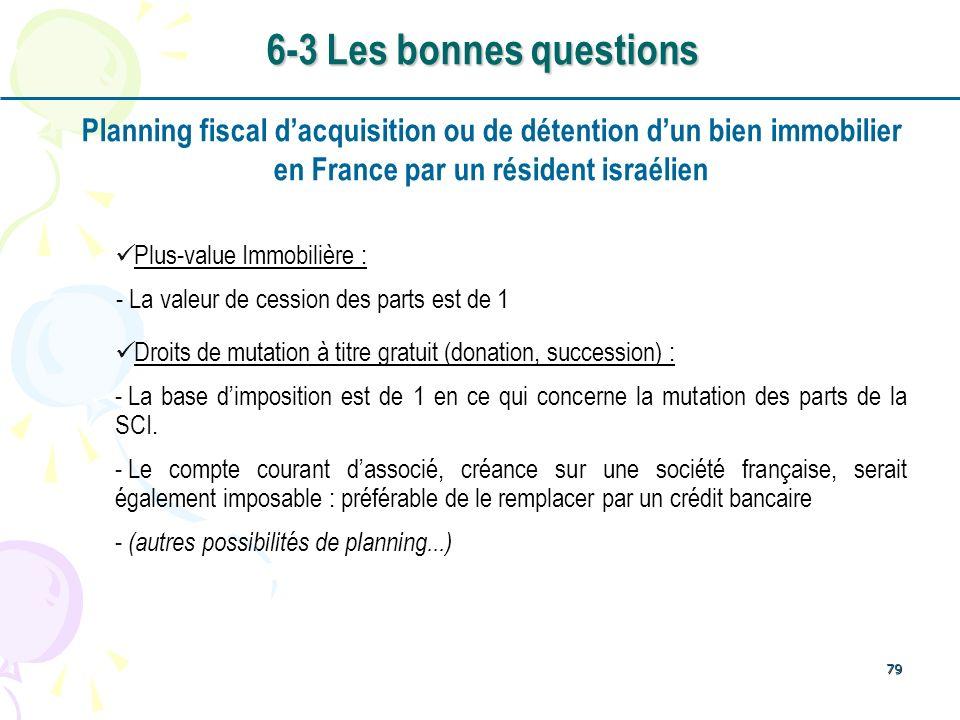 79 Planning fiscal dacquisition ou de détention dun bien immobilier en France par un résident israélien Plus-value Immobilière : - La valeur de cessio