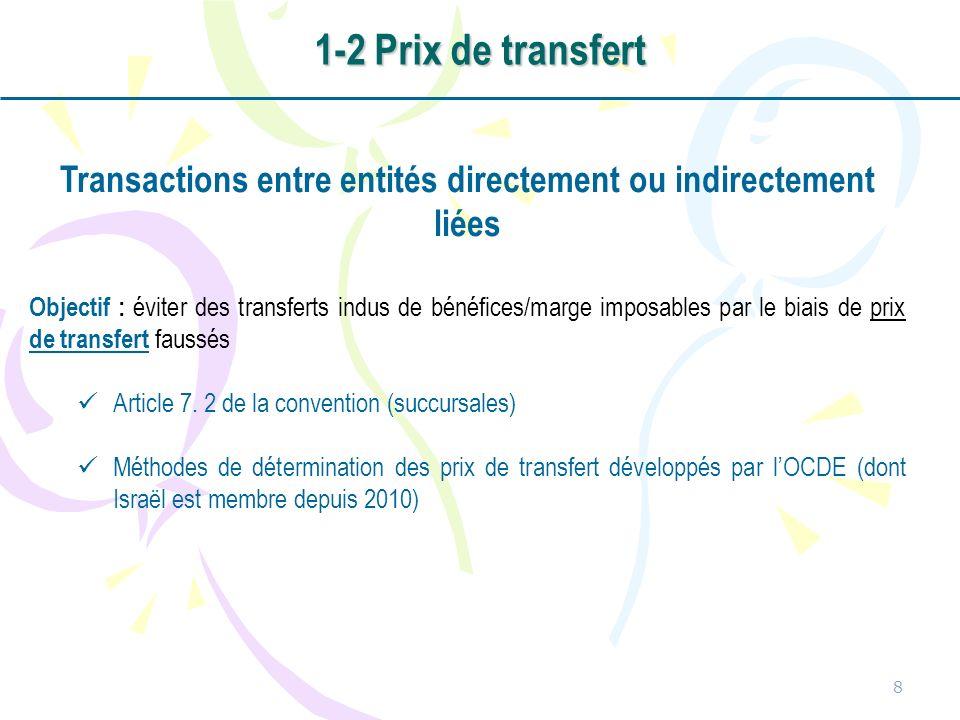 8 Transactions entre entités directement ou indirectement liées Objectif : éviter des transferts indus de bénéfices/marge imposables par le biais de prix de transfert faussés Article 7.