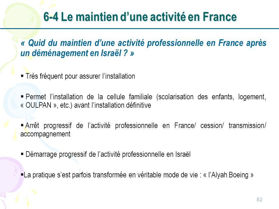 « Quid du maintien dune activité professionnelle en France après un déménagement en Israël ? » Très fréquent pour assurer linstallation Permet linstal