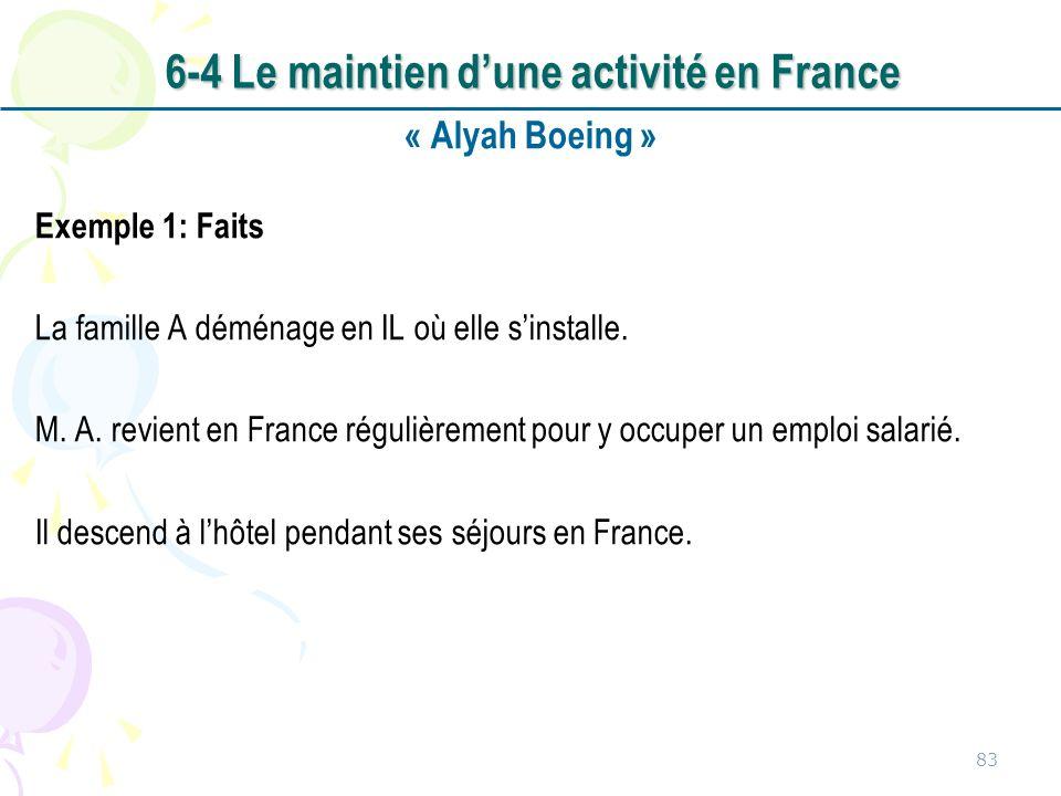 « Alyah Boeing » Exemple 1: Faits La famille A déménage en IL où elle sinstalle. M. A. revient en France régulièrement pour y occuper un emploi salari