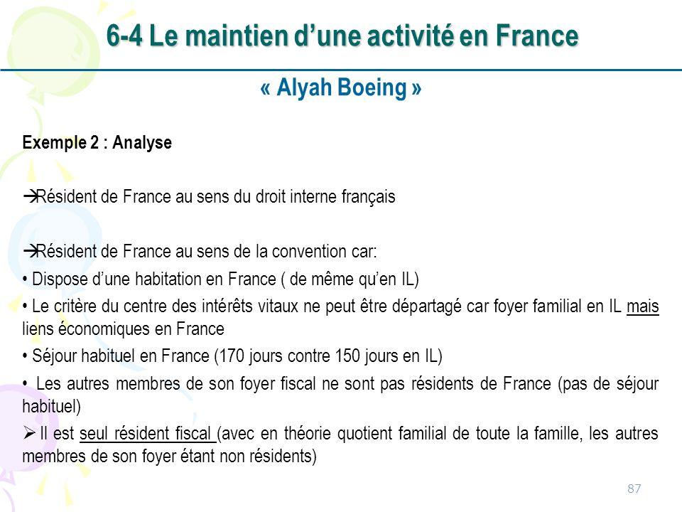 « Alyah Boeing » Exemple 2 : Analyse Résident de France au sens du droit interne français Résident de France au sens de la convention car: Dispose dun