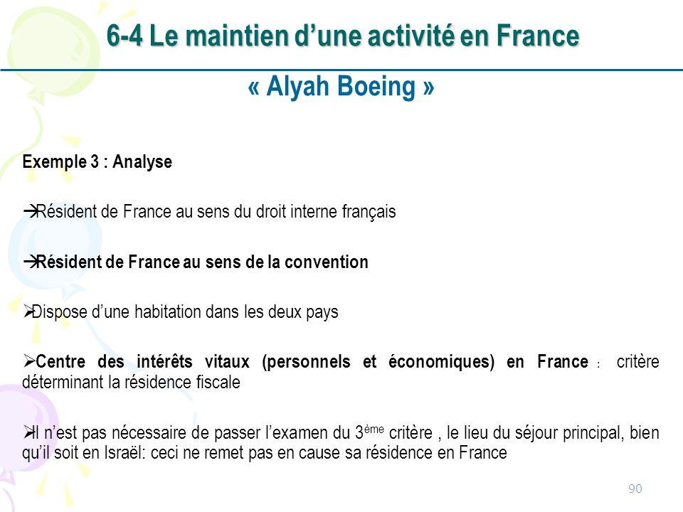 « Alyah Boeing » Exemple 3 : Analyse Résident de France au sens du droit interne français Résident de France au sens de la convention Dispose dune hab