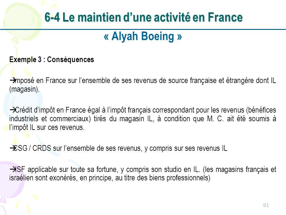 « Alyah Boeing » Exemple 3 : Conséquences Imposé en France sur lensemble de ses revenus de source française et étrangère dont IL (magasin).