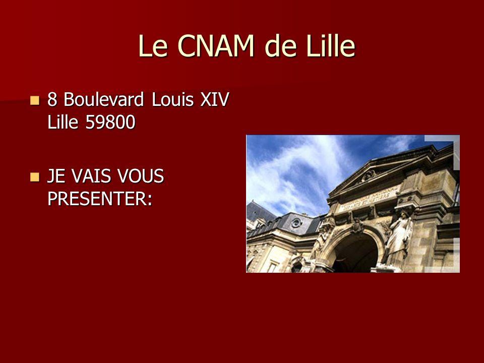 Le CNAM de Lille Le CNAM de Lille 8 Boulevard Louis XIV Lille 59800 8 Boulevard Louis XIV Lille 59800 JE VAIS VOUS PRESENTER: JE VAIS VOUS PRESENTER: