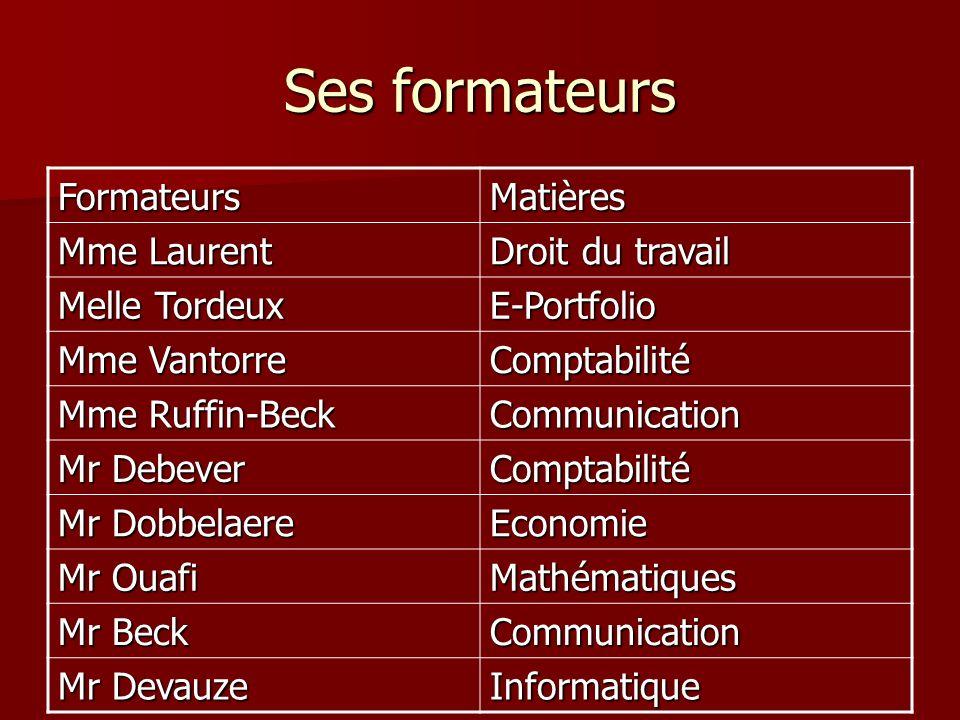 Ses formateurs FormateursMatières Mme Laurent Droit du travail Melle Tordeux E-Portfolio Mme Vantorre Comptabilité Mme Ruffin-Beck Communication Mr De