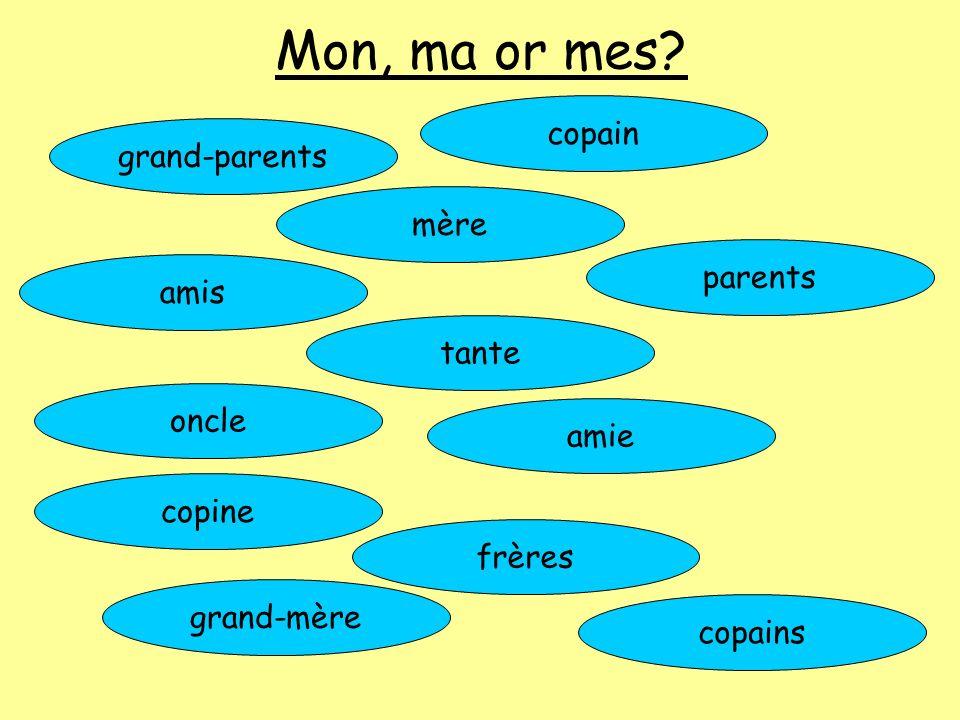 Mon, ma or mes? grand-parents copain mère amis parents tante oncle amie copine frères grand-mère copains