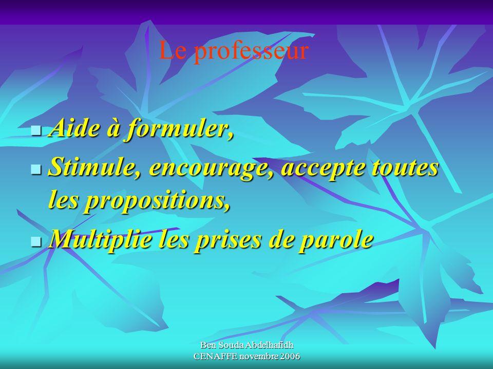 Ben Souda Abdelhafidh CENAFFE novembre 2006 Aide à formuler, Aide à formuler, Stimule, encourage, accepte toutes les propositions, Stimule, encourage,