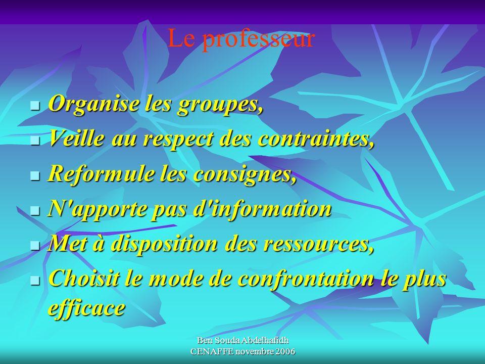 Ben Souda Abdelhafidh CENAFFE novembre 2006 Organise les groupes, Organise les groupes, Veille au respect des contraintes, Veille au respect des contr