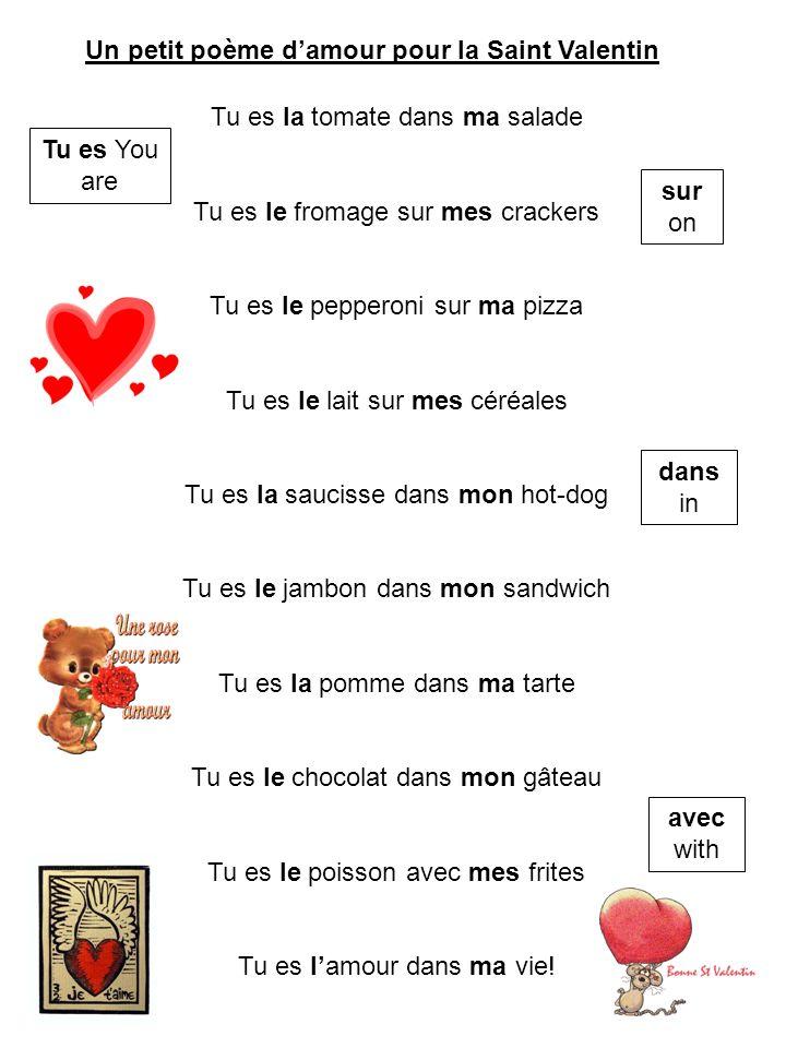 Un petit poème damour pour la Saint Valentin Tu es la tomate dans ma salade Tu es le fromage sur mes crackers Tu es le pepperoni sur ma pizza Tu es le