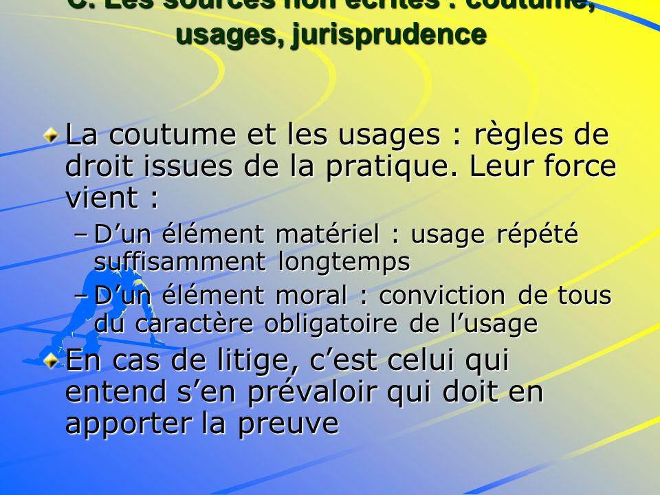 C. Les sources non écrites : coutume, usages, jurisprudence La coutume et les usages : règles de droit issues de la pratique. Leur force vient : –Dun