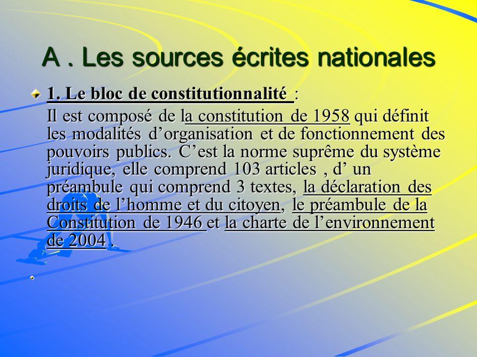A.Les sources écrites nationales 1.