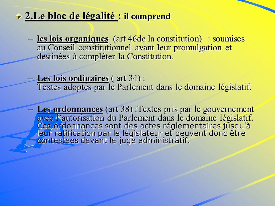 2.Le bloc de légalité : il comprend –les lois organiques (art 46de la constitution) : soumises au Conseil constitutionnel avant leur promulgation et destinées à compléter la Constitution.
