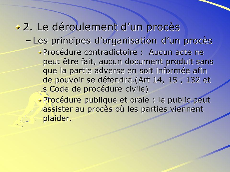 2. Le déroulement dun procès –Les principes dorganisation dun procès Procédure contradictoire : Aucun acte ne peut être fait, aucun document produit s