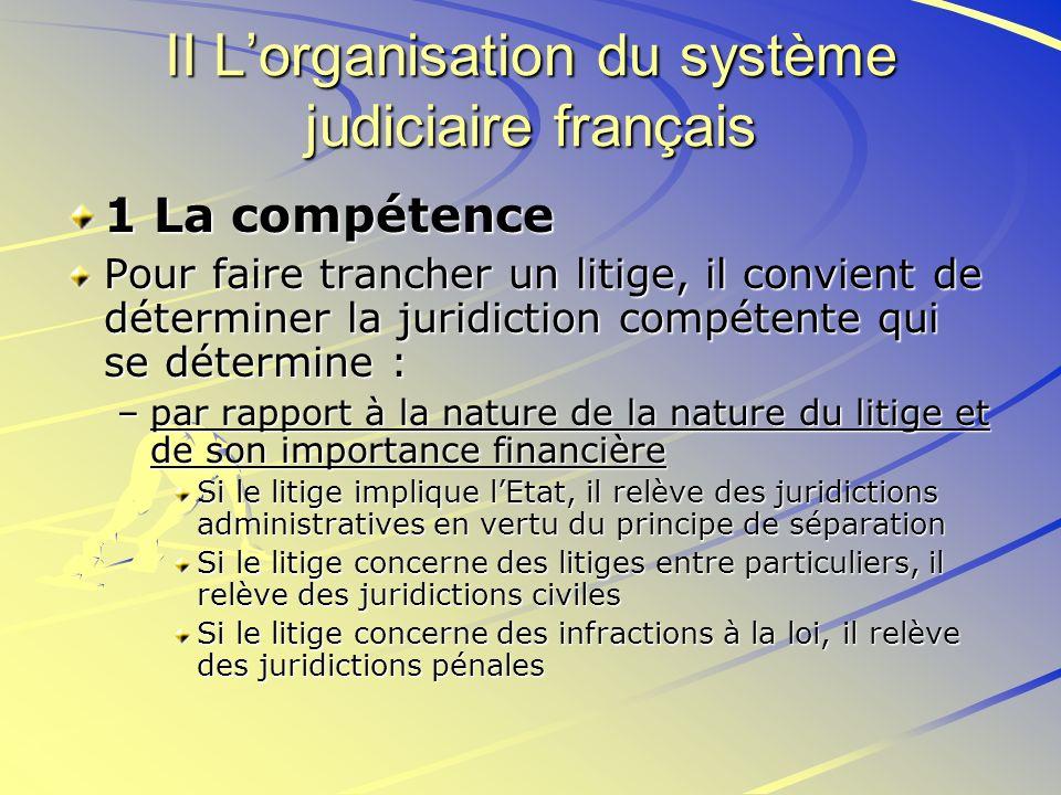II Lorganisation du système judiciaire français 1 La compétence Pour faire trancher un litige, il convient de déterminer la juridiction compétente qui
