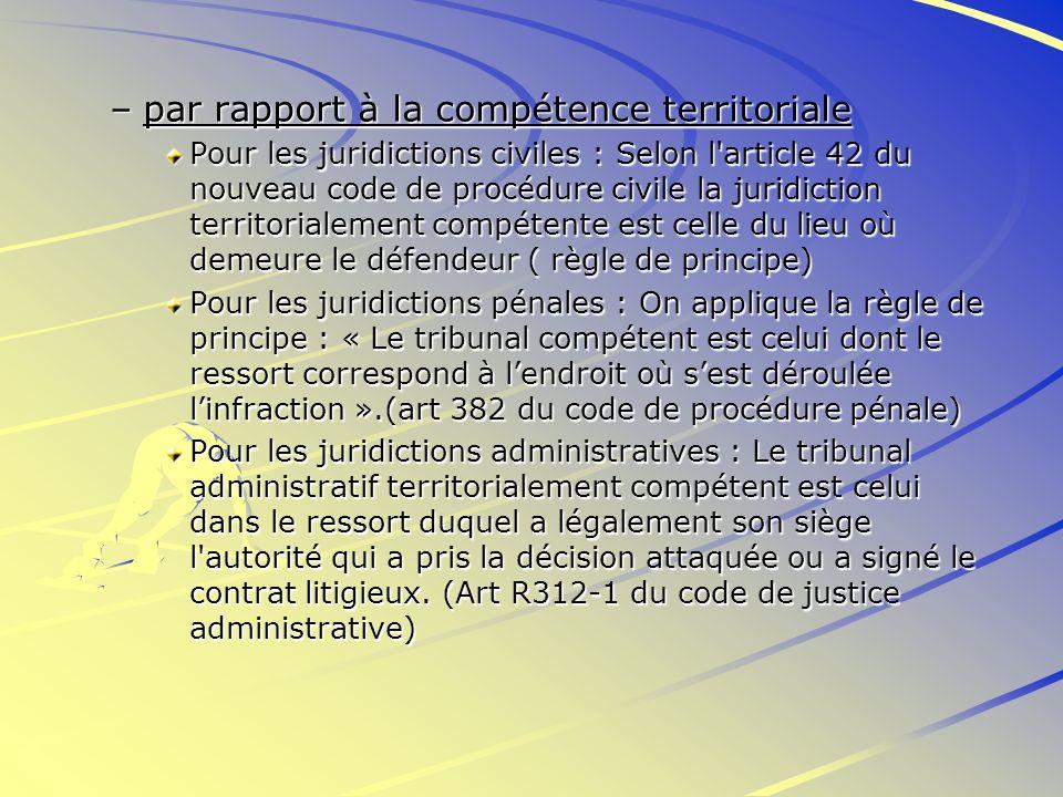 –par rapport à la compétence territoriale Pour les juridictions civiles : Selon l'article 42 du nouveau code de procédure civile la juridiction territ