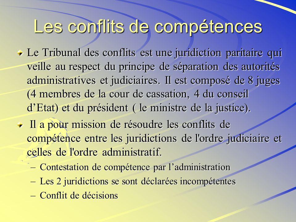 Les conflits de compétences Le Tribunal des conflits est une juridiction paritaire qui veille au respect du principe de séparation des autorités admin