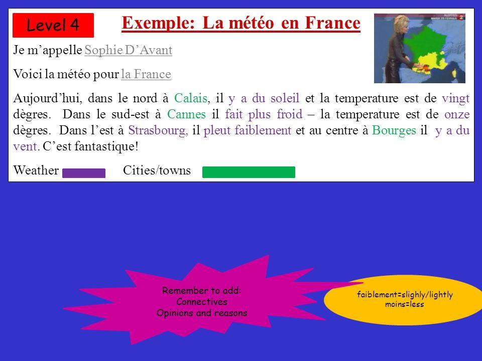 Exemple: La météo en France Je mappelle Sophie DAvant Voici la météo pour la France Aujourdhui, dans le nord à Calais, il y a du soleil et la temperature est de vingt dègres.