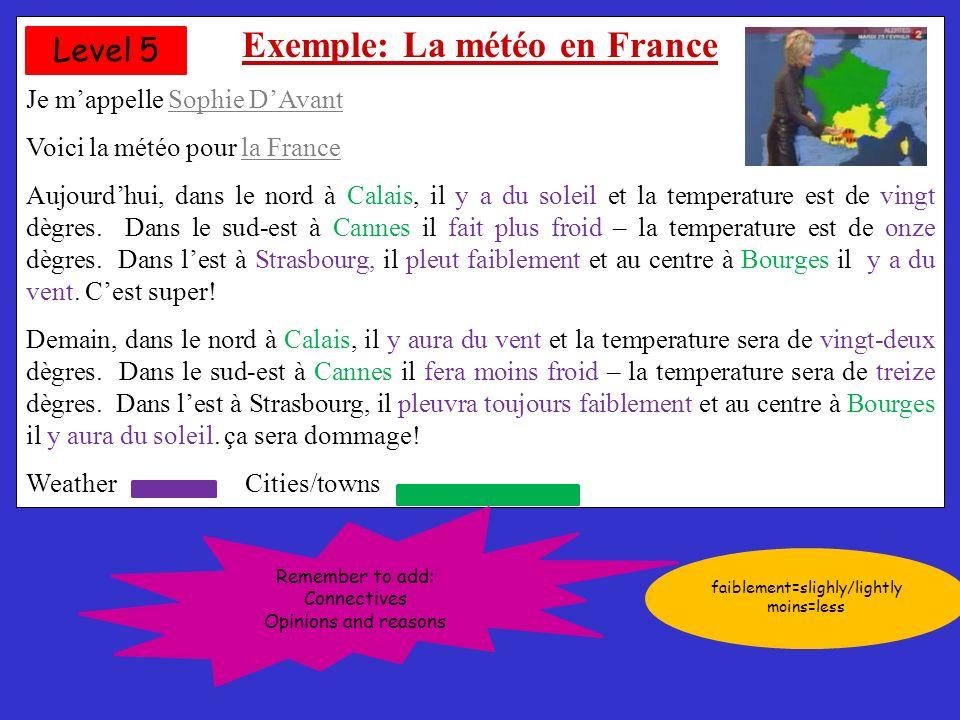 Exemple: La météo en France Je mappelle Sophie DAvant Voici la météo pour la France Hier, dans le nord à Lille, il neigeait, dans le sud à Nice, il faisait froid, dans louest à Bordeaux, il y avait du soleil, et au centre à Bourges, il pleuvait, enfin dans lest à Strasbourg, il y avait du vent, Aujourdhui, dans le nord à Calais, il y a du soleil et la temperature est de vingt dègres.